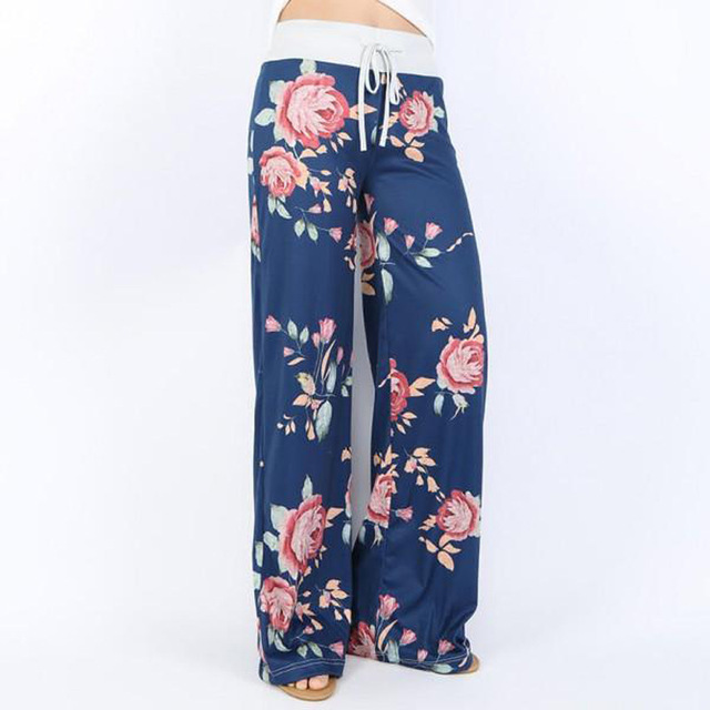 Women Long Pants Loose Floral Print Drawstring Lace Camouflage stripe Wave point Sweatpants 4