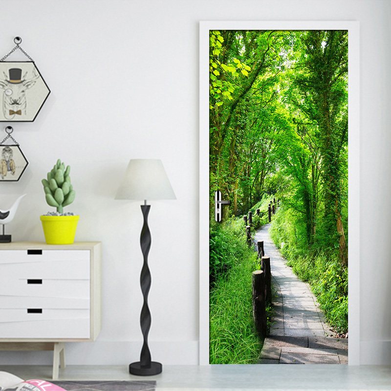 3D Green Forest Path Mural Art Wall Painting Living Room Bedroom Restaurant Door Sticker PVC Self Adhesive Waterproof Wallpaper