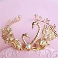 Vintage Gold Swan Princess Tiara Bridal Crown Pearl Wedding Hair Jewelry Accessories Women Prom Headpiece