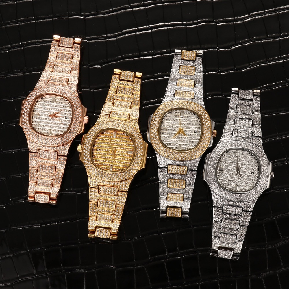 Hip Hop Mens Watches Luxury Date Quartz Wrist Watches Micro Pave CZ Watch Link Chain Bracelet For Men Jewelry Gold Silver RoseHip Hop Mens Watches Luxury Date Quartz Wrist Watches Micro Pave CZ Watch Link Chain Bracelet For Men Jewelry Gold Silver Rose