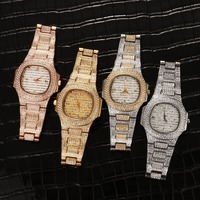 Hip Hop Mens Watches Luxury Date Quartz Wrist Watches Micro Pave CZ Watch Link Chain Bracelet For Men Jewelry Gold Silver Rose