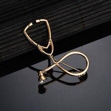 SexeMara alta calidad 2 Color broches Doctor estetoscopio para enfermera broche joyería médica esmalte Pin Denim Chaquetas Collar Pin con distintivo