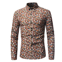 2018 Men Formal Casual Shirts Slim Fit Long Sleeve Floral Print Men Shirt Stand Collar Shirt