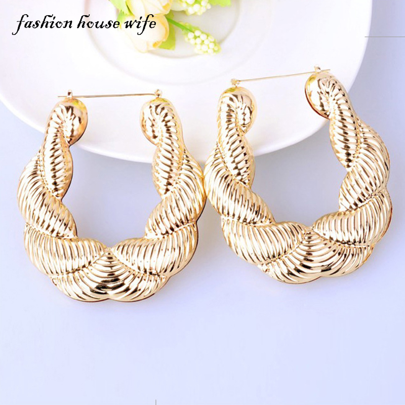 Fashion House Wife Hiphop Large Big Basketball Wives Hoop Earrings Bamboo Twist Round Earring For Women Jewelry Party LE0054