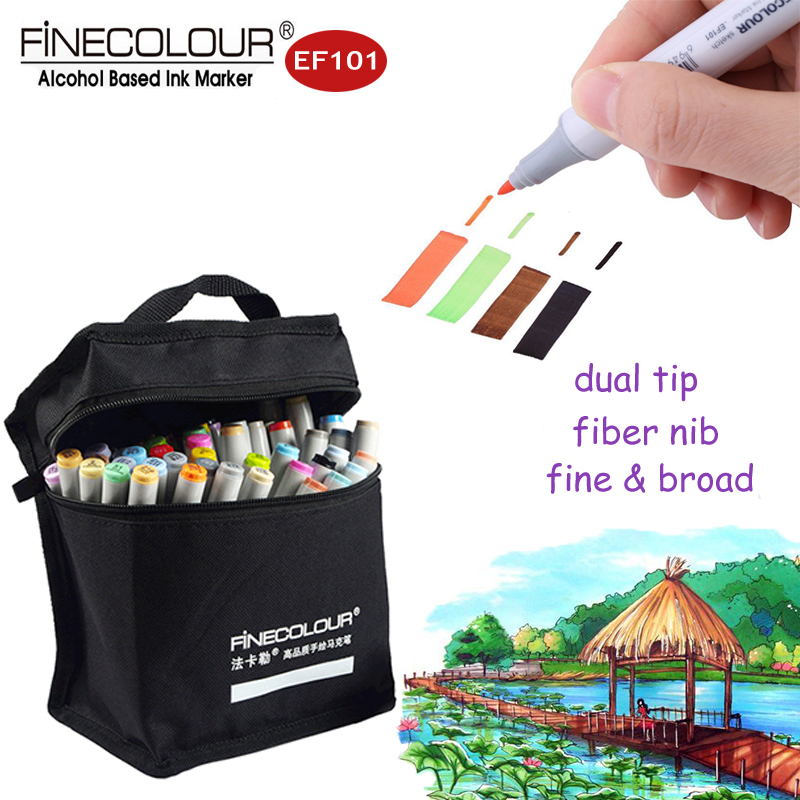 Finecolour 160 EF101 Dual Alcohol Markers Graffiti Comic Pens Draw Liners 36/48/60/72 Set Refillable Architectural Sketch Marker touchnew 60 colors artist dual head sketch markers for manga marker school drawing marker pen design supplies 5type