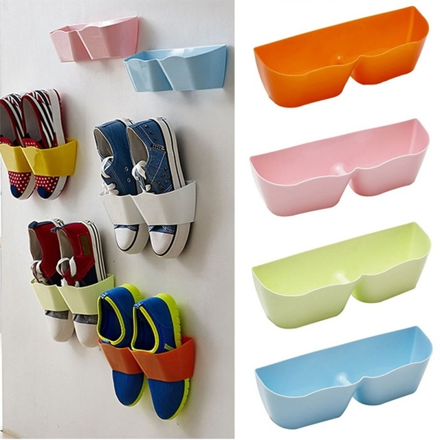 Wall Shoe Rack Part - 41: Innovative Family Bathroom Shoes Storage Shelf Suction Wall Shoe Rack Candy  Colour Shoes Shelf Storage Holder