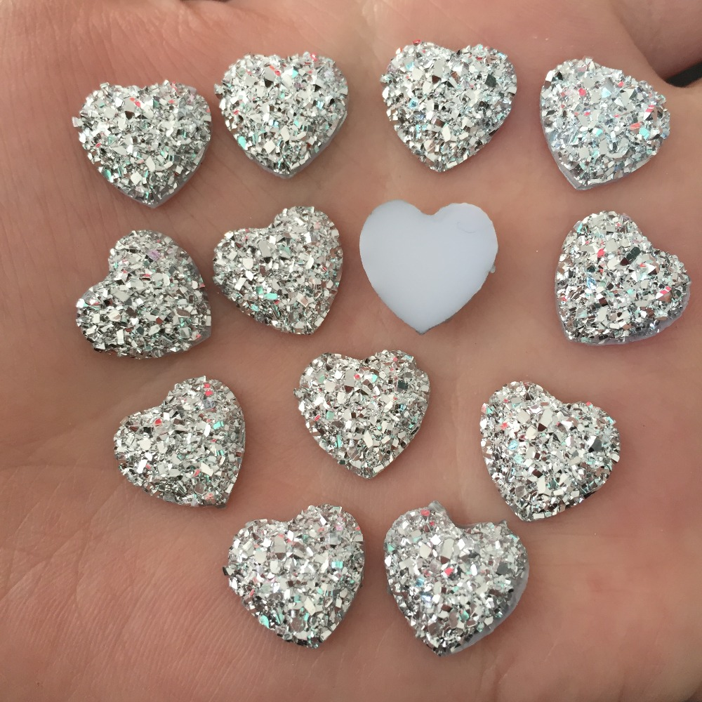 DIY 80pcs 12mm silver AB Resin Bling Sweet heart flatback Scrapbooking for  phone Wedding D500 2-in Buttons from Home   Garden on Aliexpress.com  d8af733d335b