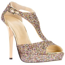Neue Elegante Sandalen Für Frauen Glitter Verziert T-strap Peep Toe Thin High Heels Abdeckung Heels Schnalle Sommer Party Schuhe