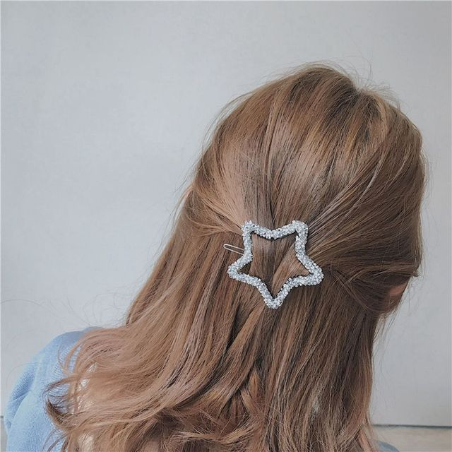 1 Pcs Fashion Crystal Rhinestones Hairpin Star Triangle Round Shape Women Hair Clips Barrettes Hair Styling Accessories
