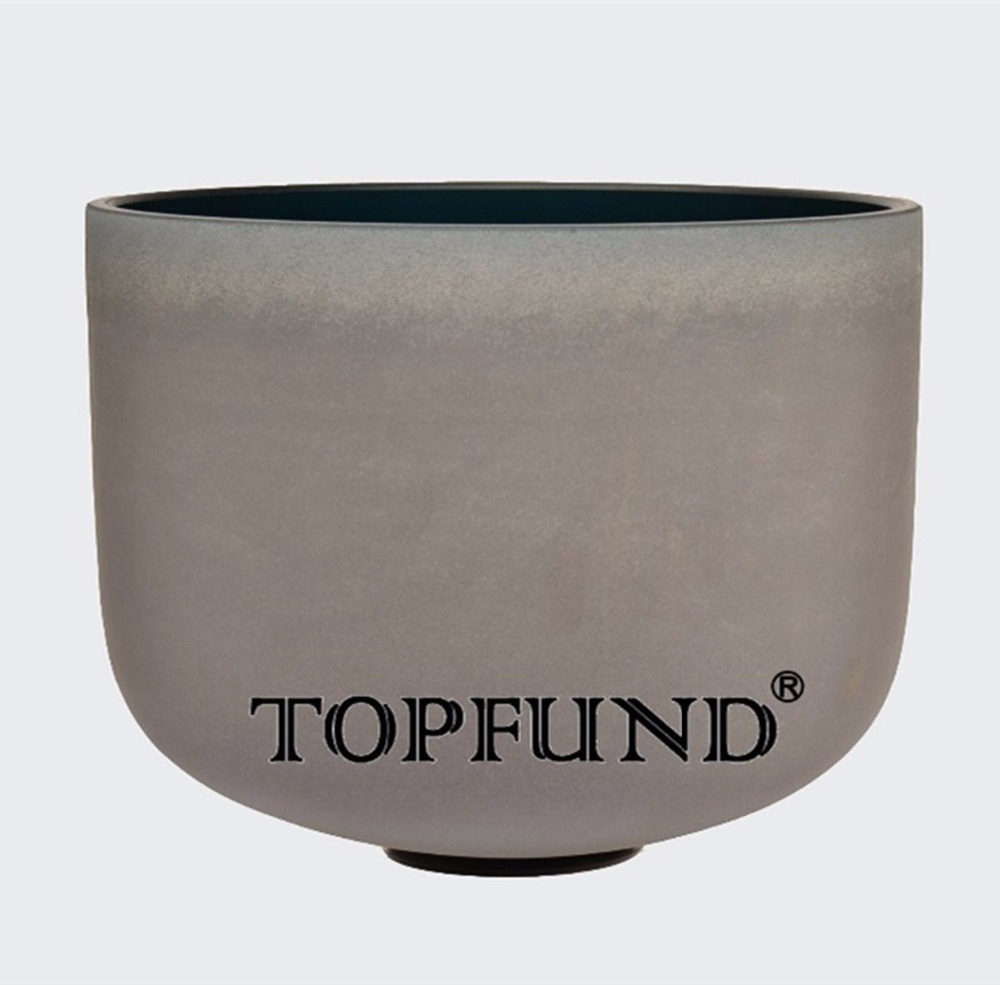 TOPFUND indigo Color A Third Eye  Chakra  Frosted Quartz Crystal Singing Bowl 12 With Free Mallet and O-Ring topfund hollow handle clear a third eye chakra indigo color crystal singing bowl 6