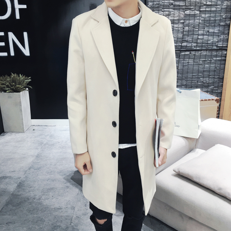 Wool Men Woolen Soft Slim Pockets Leisure Korean Simple All match Large Size Blends Mens Winter Coats New Arrival 2018 Outerwear