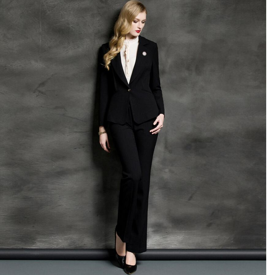 Women Pant Suits western style black jacket + pants high-end custom OL professional ladies haute couture women suits ...