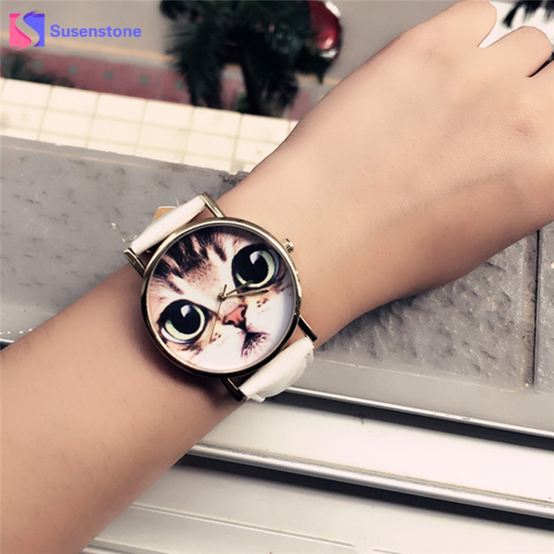 Cute Cat Watch Women PU Leather Wrist Watches Vogue Ladies Casual Analog Quartz Watch 2017 New Fashion Clock Relogio Feminino купить