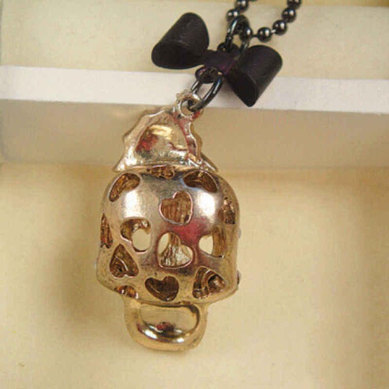 القوطية الهيب هوب الجمجمة رئيس قلادة قلادة مع زهرة الورد ربطة القوس فيونكة Femal النساء سترة سلسلة طويلة قلادة مجوهرات