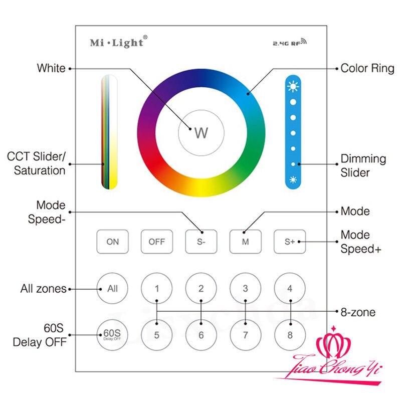 все цены на Mi Light LED controller 2.4G wireless 8 Zone RF dimmer remote B8 Touch LS2 онлайн