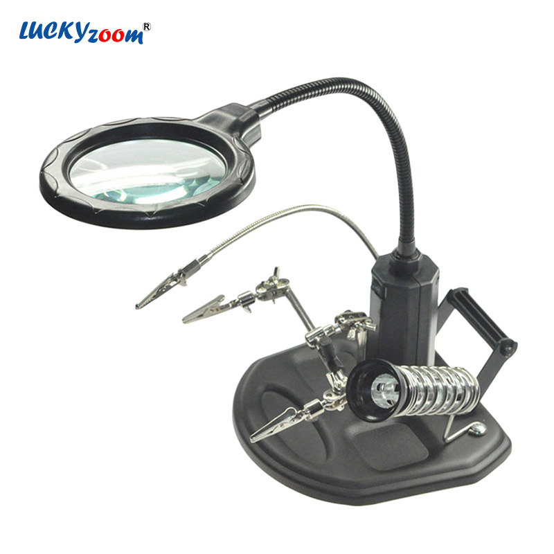 3X 6X Welding Helping Hand Magnifying Glass LED Illuminated Jewelry Magnifier Loupe Third Hand Soldering Iron Repair Tool Lupa