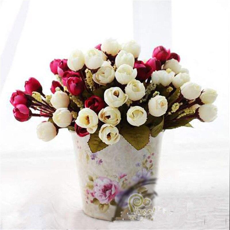 Довольно очаровательная восхитительный 15 почки 1 букет Мини Роза искусственного шелка Цветок невесты Свадебные Главная Наклейка Свадебные...