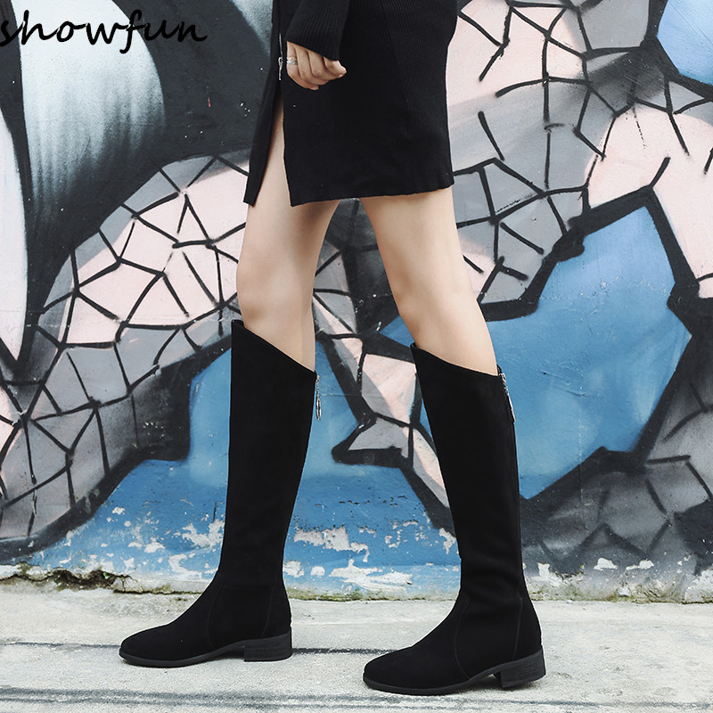 Plus Size 33-43 Women's Genuine Suede Leather Back Zip Knee High Knight Boots Brand Designer Fats Winter Long Boots Shoes Women