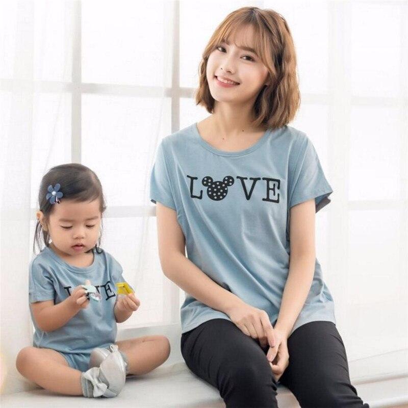 Été famille correspondant chemise allaitement t-shirt bébé combinaison T Shirt à manches courtes famille look maman bébé fille T-shirt pour garçon Tee-shirt