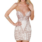 Save 4.37 on Women spaghetti strap gold sequin dress bandage summer sexy dress sequined geometic women bodycon club dress
