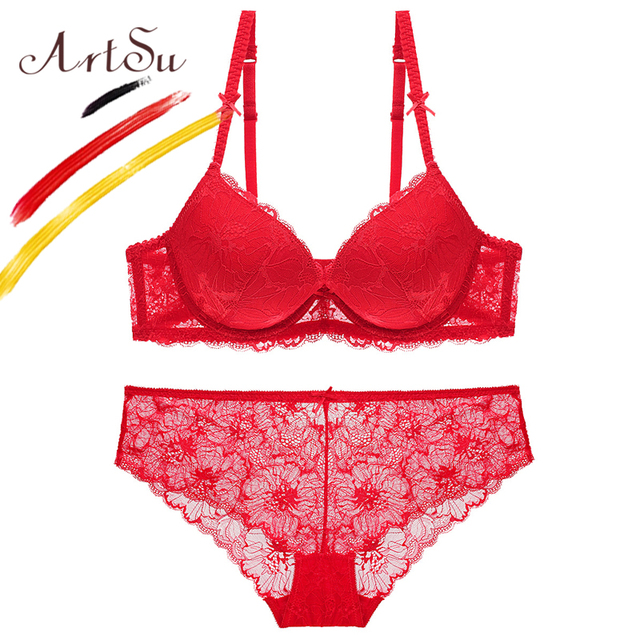 6cd842c2f21a5 ArtSu Sexy Red Color Women Bra Set 2018 Casual Floral Lace Lingerie Brief  Set Transparent Panty