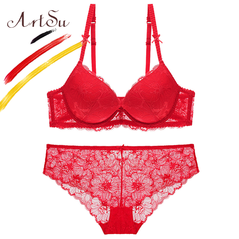 adc1cf26aa ArtSu Sexy Red Color Women Bra Set 2018 Casual Floral Lace Lingerie Brief  Set Transparent Panty And Adjustable Underwear ABC Cup