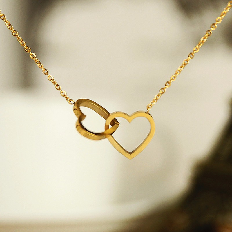 Double Heart Necklaces Pendants For Women Love Jewellery Bridesmaid Gifts Stainless Steel Link Chain Bijoux Femme Collier Choker