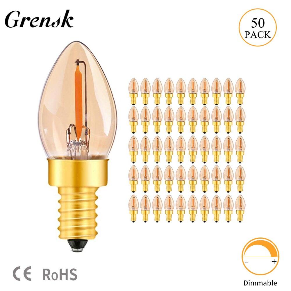 Grensk Amber Glow C7 0 5W E14 Edison Dimmable LED Filament Night Bulb Ultra Warm White