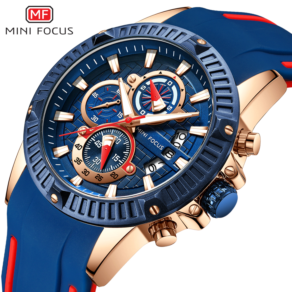 MINI FOCUS 2019 Royal Blue Men Fashion Watch 3D Bolt Multi Function Sports Rubber Strap Top Brand Luxury Designer Analog Quartz