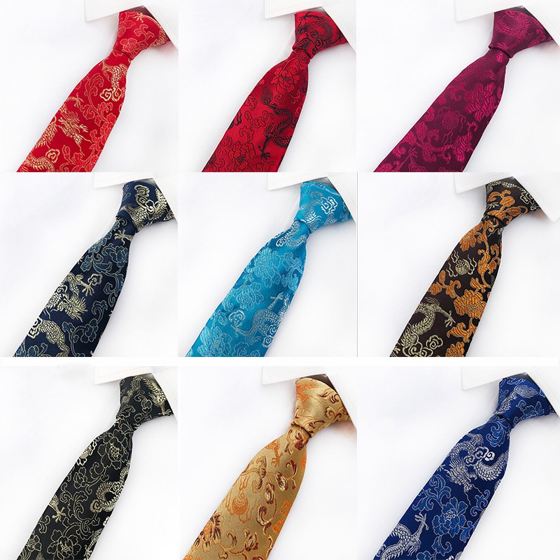 Classic Silk Mens Ties New Design China Mascot Neckties 8cm Chinese Dragon Ties For Men Formal Business Wedding Party Gravata