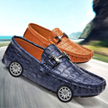 Кожаные Ботинки Мужские Англия Крокодил Pattern Повседневная Мужчины Обувь Люксовый Бренд Бездельники Моды Вождения Обувь Мокасины