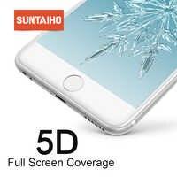 Suntaiho 5D Vidrio protector para iPhone 7 6 6S 8 Plus Vidrio templado para iPhone X Xs Max Xr Protector de pantalla para iPhone 7 vidrio