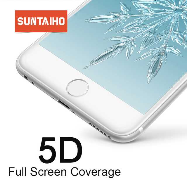 Suntaiho for iPhone 7 glass iphone 6S X 8 Plus Tempered Glass for iPhone X XR XS Max Screen Protector 5D Full Cover Cold Carving