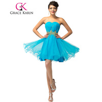 Free Shipping 1pc Lot New Grace Karin Elegant Blue Short Sequins Ruched Evening Cocktail Dress CL4972