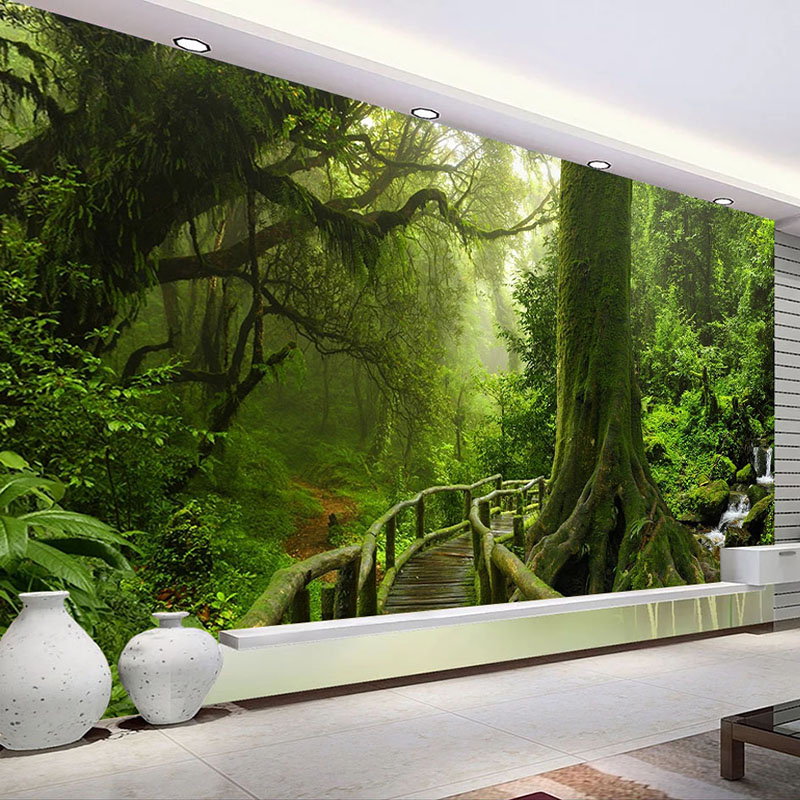 Custom 3D Wallpaper Green Big Tree Nature Landscape Forest Photo Mural Wall Paper For Bedroom Living Room Sofa TV Background Art