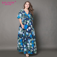 S FLAVOR Brand 2017 Women V Neck Floral Printed Maxi Dress Sexy Elegant 5xl 6xl Plus