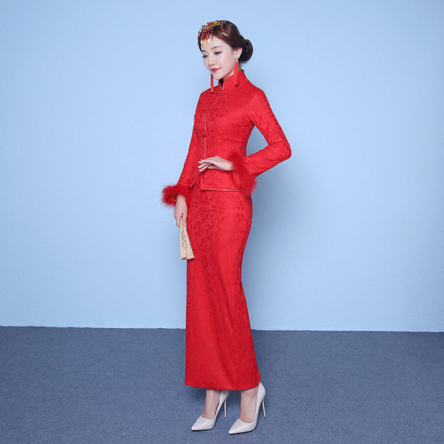 Online Shop Red Traditional Chinese Wedding Dress Qipao Cheongsam ...