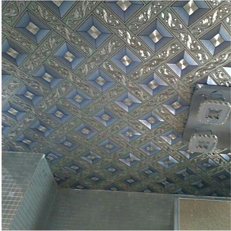 beibehang High end luxury ceiling wallpaper gold foil silver diamond lattice wallpaper KTV living room bar aisle roof wall paper