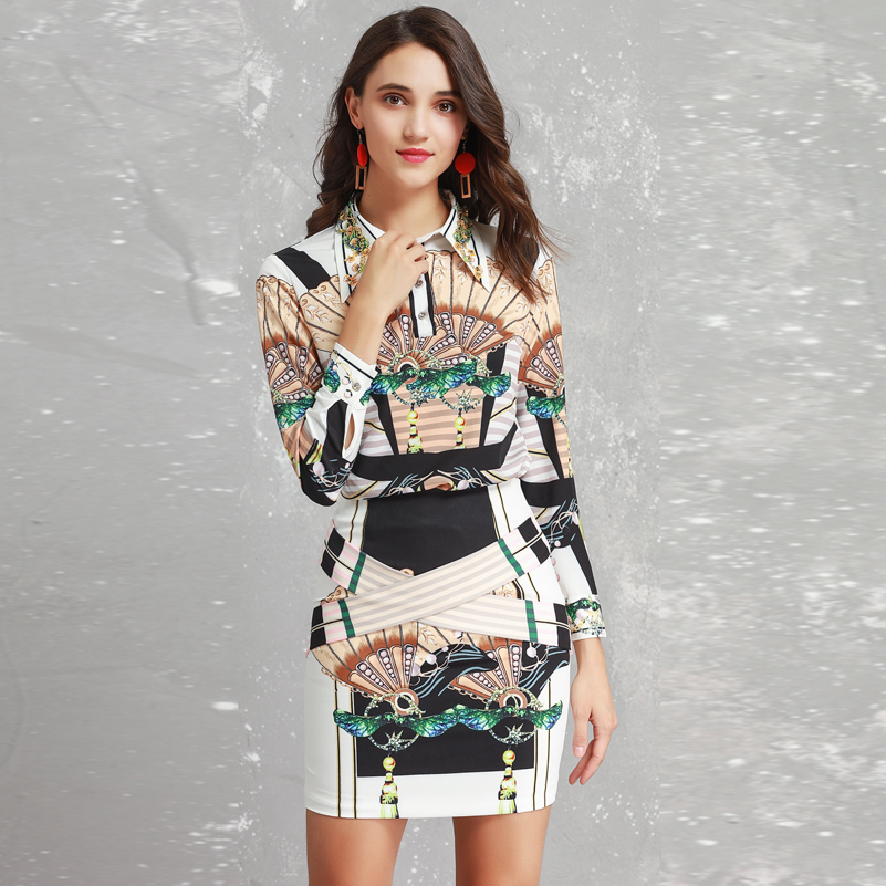 High quality Runway Designer spring/Autumn Shirts Two Pieces Sets Women Long Sleeve blouses+Floral Print Vintage mini skirt Set