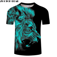 Red Eye Lion tshirt Men t shirt Lion t-shirt 3D Animal Top Streatwear Tee Short Sleeve Camiseta Boy Hip Hop Drop Ship ZOOTOPBEAR