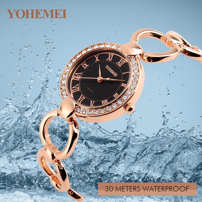Numbers Dial Women Watches Rose Gold Montre Femme Girls YOHEMEI Young Women s Alloy Strap