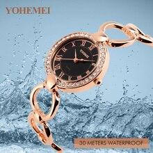 Los números de Marcación Mujeres Relojes de Oro Rosa Relojes Montre Femme Girls YOHEMEI Joven Correa De Aleación Pulsera de Las Mujeres Reloj de Cuarzo Resistente Al Agua
