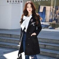 Original Autumn Winter Coat Female 2017 Brand Black New Wool Elegant Bird Sequined Flower Long Outerwear