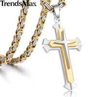 Trendsmax Stainless Steel 3 Layer Knight Cross Silver Gold Black Tone Mens Boys Necklace Pendant KP179
