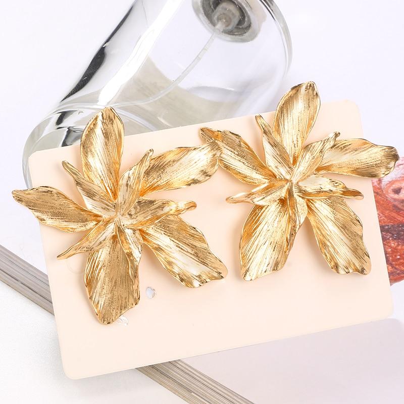 Docona Elegance Silver Gold Big Flower Drop Dangle Earring for Women Trendy Metal Floral Party Jewelry