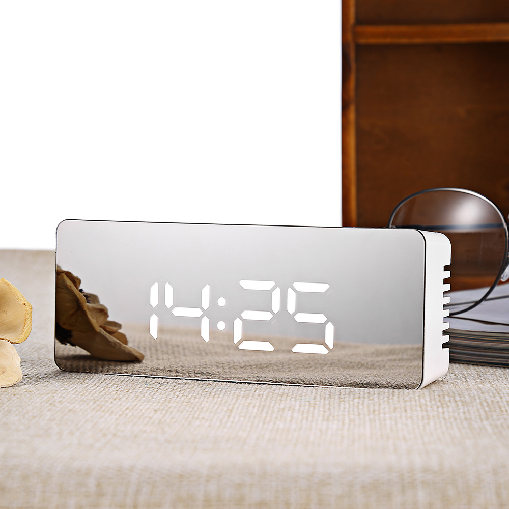 Digital Alarm Clock Electronic Mirror Table Desktop Alarm Clock LED  Despertador Temperature Time Display Snooze For Home Office
