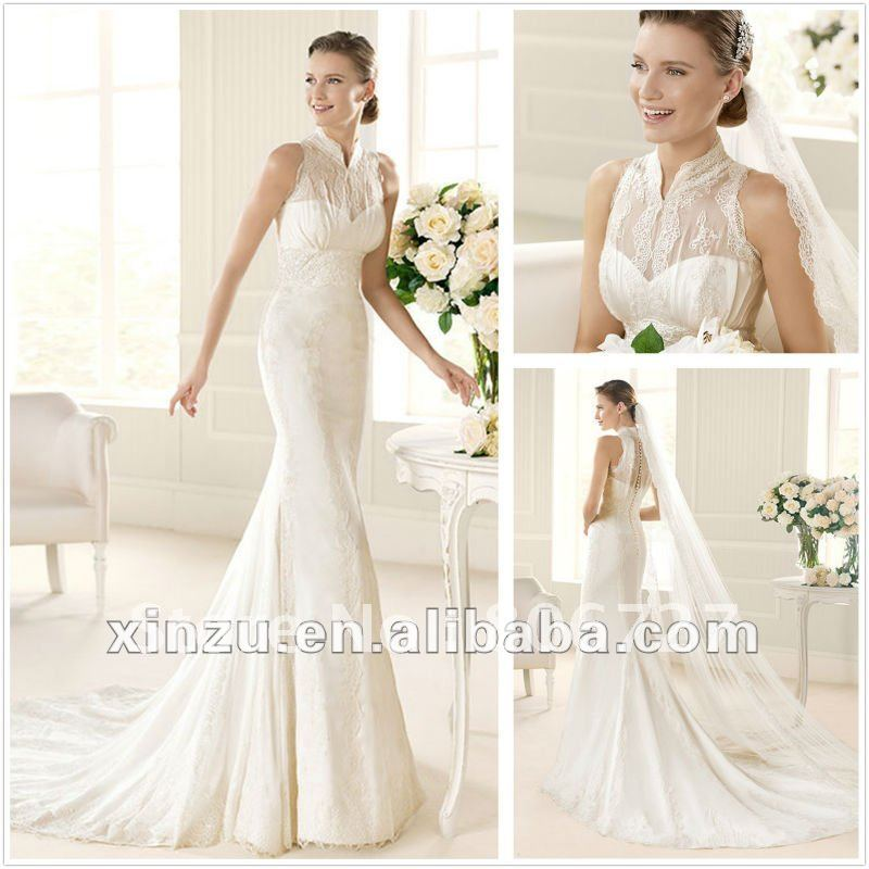 Sleeveless High Neck Lace Mermaid Covered Back Wedding Dresses In From Weddings Events On Aliexpress Alibaba Group