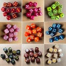 10 шт./компл. круглого угла с украшением из жемчужин и перламутровых камней кубики 16 мм Красочные 6 кости игральные настольная игра для развлечения