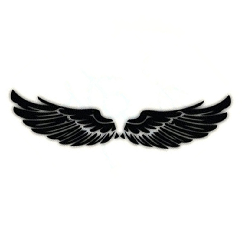40CM Angel Rear Wing Modified Car Stickers Wings Reflective Material Body Sticker Decals Black Silver CT-754