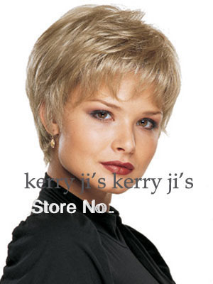 Stylish Casual Hair Blonde short Straight Wig new Arrivals Synthetic Hair For Woman Black